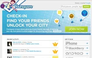 screen shot of four squre website